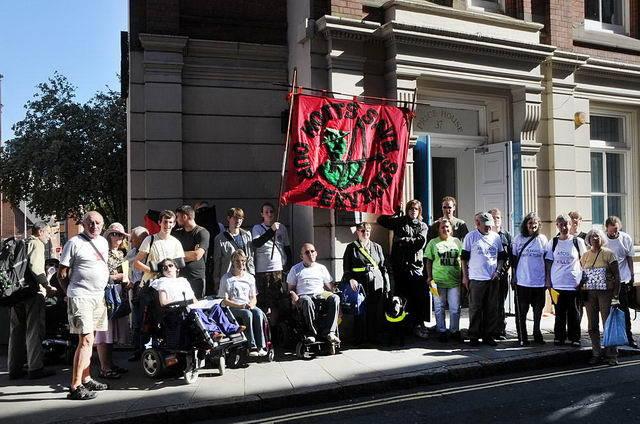 Demonstration near ATOS examination centre on Stoney St. in 2011